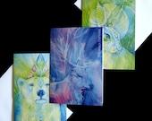 Spirit Animal Hare Bear Stag Greeting Card Set of 3