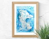 Chakra Art Print / Throat Chakra Goddess / Healing Wall Art / Blue Goddess