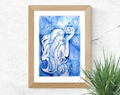Chakra Art Print / Intuition Third Eye Chakra / Healing Wall Art / Indigo Blue Goddess Art
