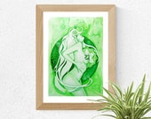Heart Chakra Goddess / Green Chakra Art Print / Healing wall Art