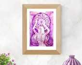Chakra Art Print / Crown Chakra Goddess / Healing Wall Art / Purple Goddess Art