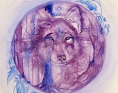 Purple Wolf Spirit Animal Art Print