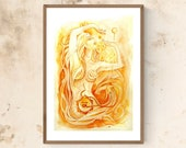 Chakra Art Print / Sacral Chakra Goddess / Healing Wall Art / Orange Goddess