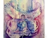 Spirit Animal Owl - Fine Art print -  Inner Wisdom - Watercolour Owl Print - Spirit Animal Art by SoulBird Art
