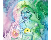 Tarot Queen of Pentacles Limited Edition Art Print / featured in 'Crystal Power Tarot' by Jayne Wallace, Psychic Sisters