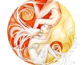 Yin Yang, Watercolor Print, Fine Art Print, Love, Fine Art Print by Roberta Orpwood