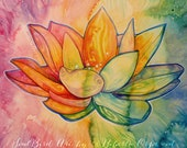 Rainbow Chakra Lotus Flower Art Print