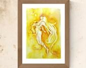 Chakra Art Print / Solar Plexus Chakra / Healing Wall Art / Yellow Goddess Art