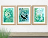 Water Element Zodiac Goddess Art Print Set