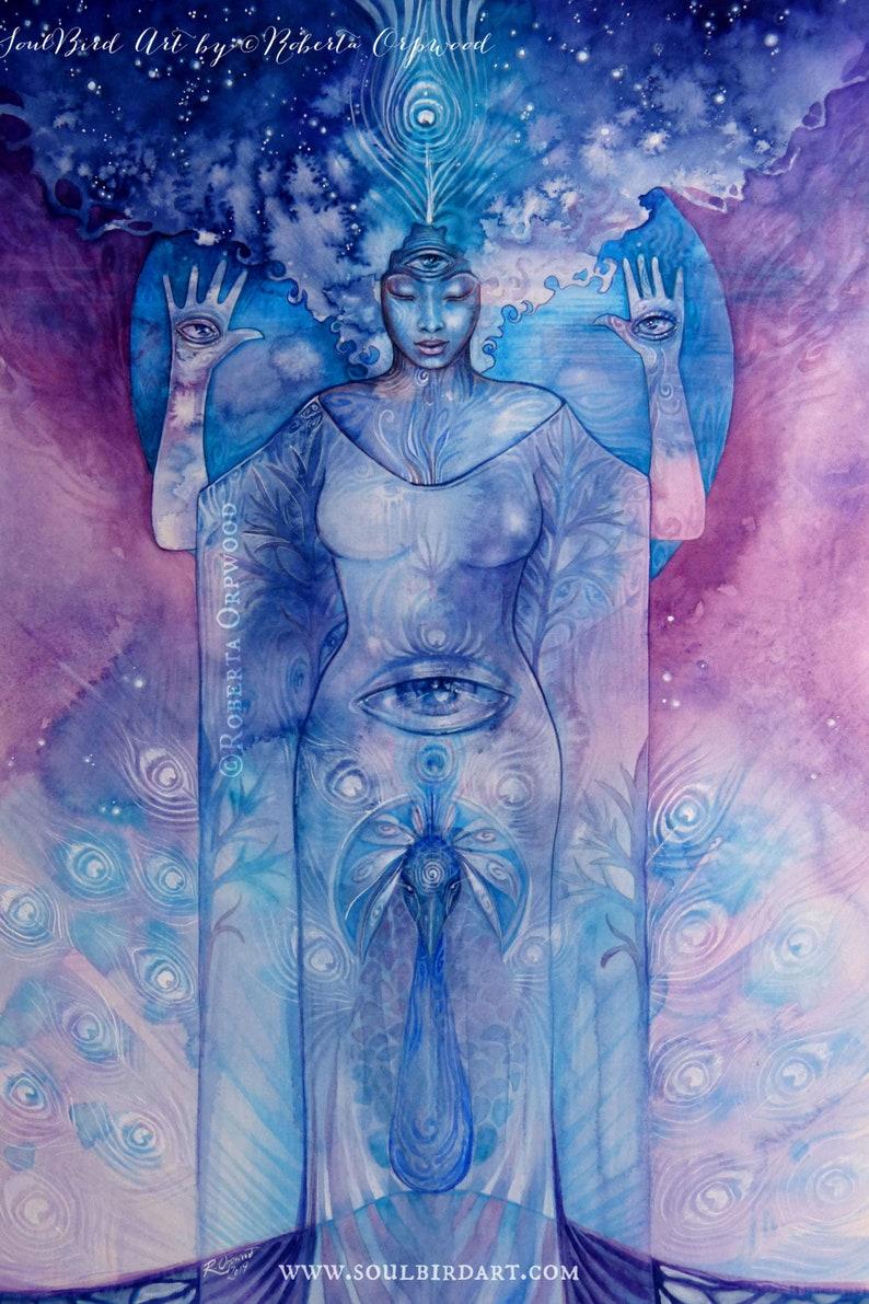 Shamanic Chakra Goddess Art / Sacred Third Eye Chakra image 0