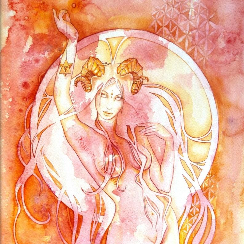 Aries Zodiac Goddess Art Print / A4 image 0