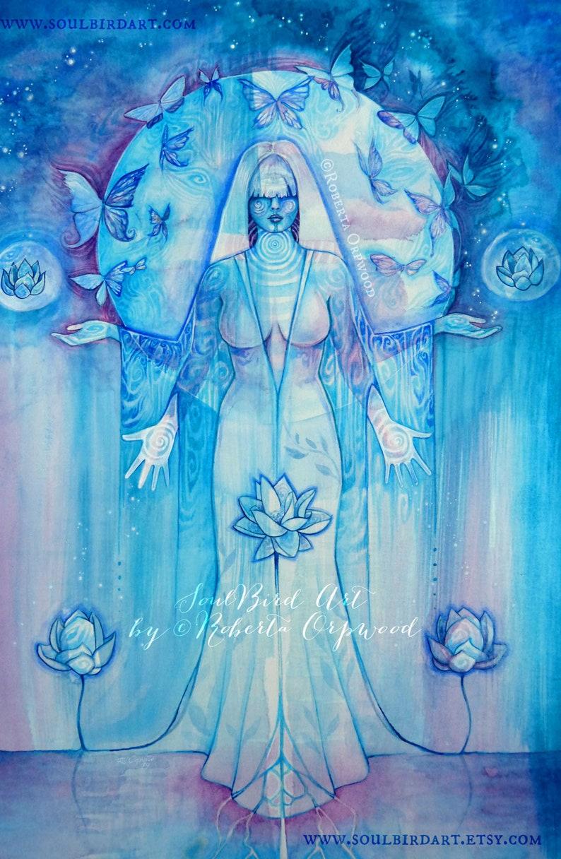 Shamanic Chakra Goddess Art / Sacred Throat Chakra image 0