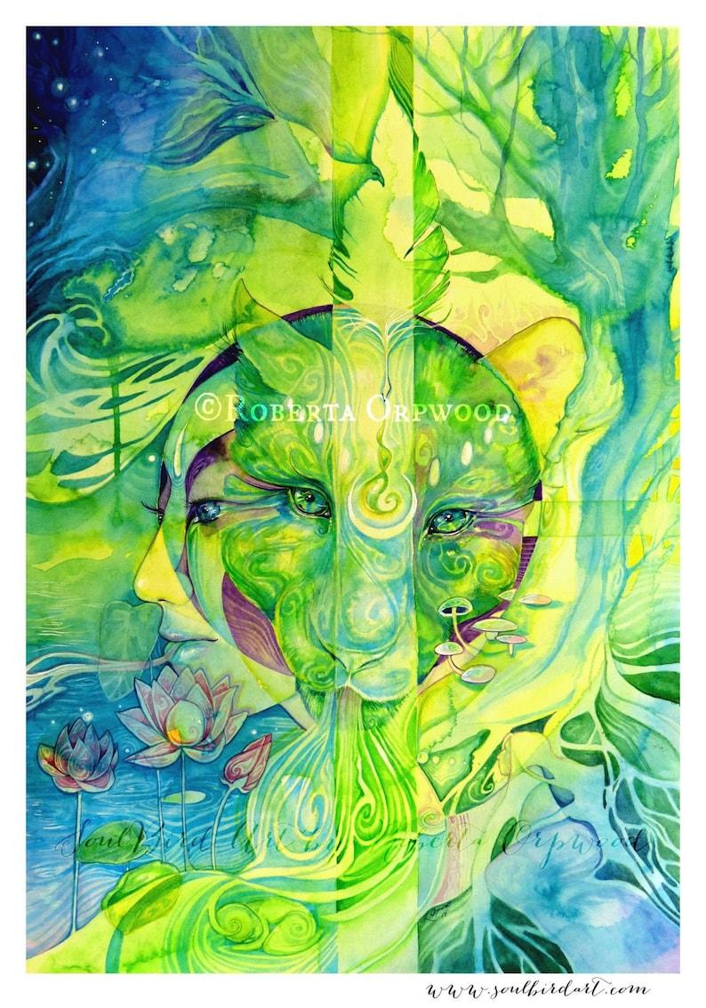Jaguar Spirit Animal Visionary Art Print image 0