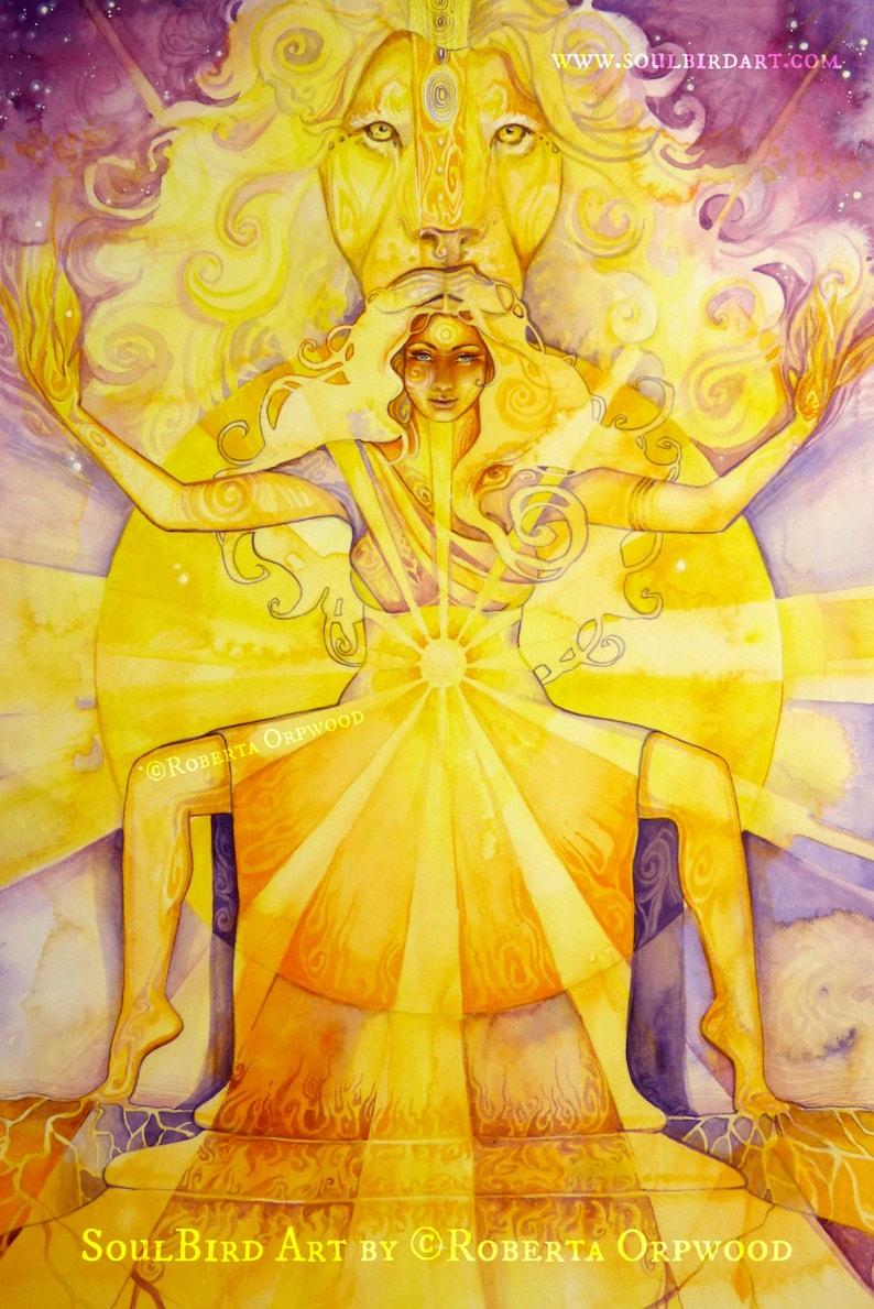 Shamanic Chakra Goddess Art / Sacred Solar Plexus Chakra image 0