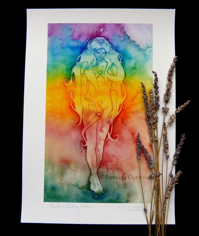 Rainbow Chakra Goddess Art Print / Featured in 'The image 0