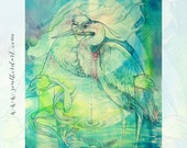 Heron Medicine Woman Shamanic Spirit Animal Art Print - A4