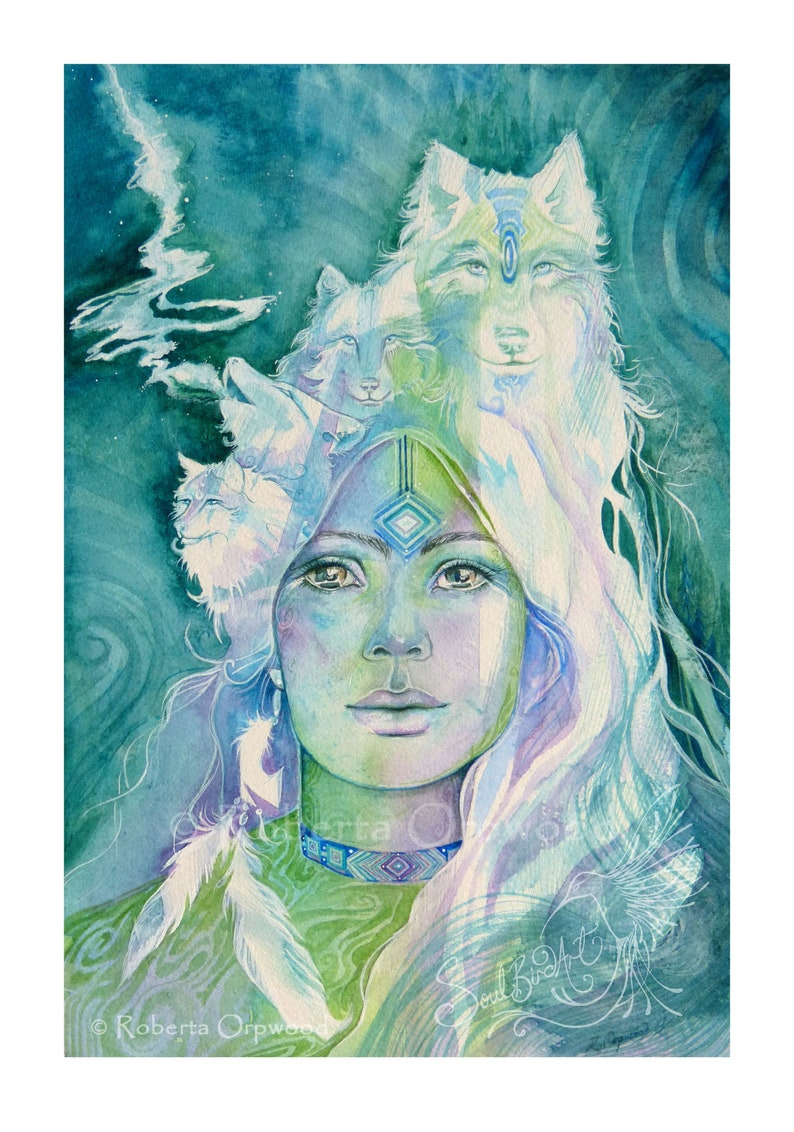 Wolf Goddess Shamanic Art Print image 0