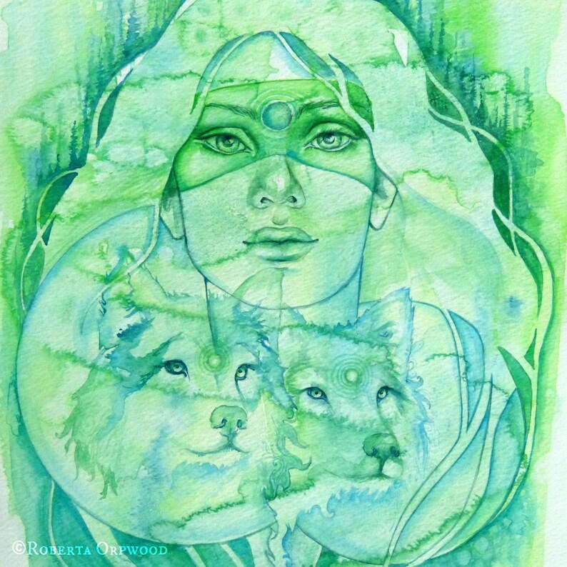 Wolf Goddess Spirit Animal Art image 1