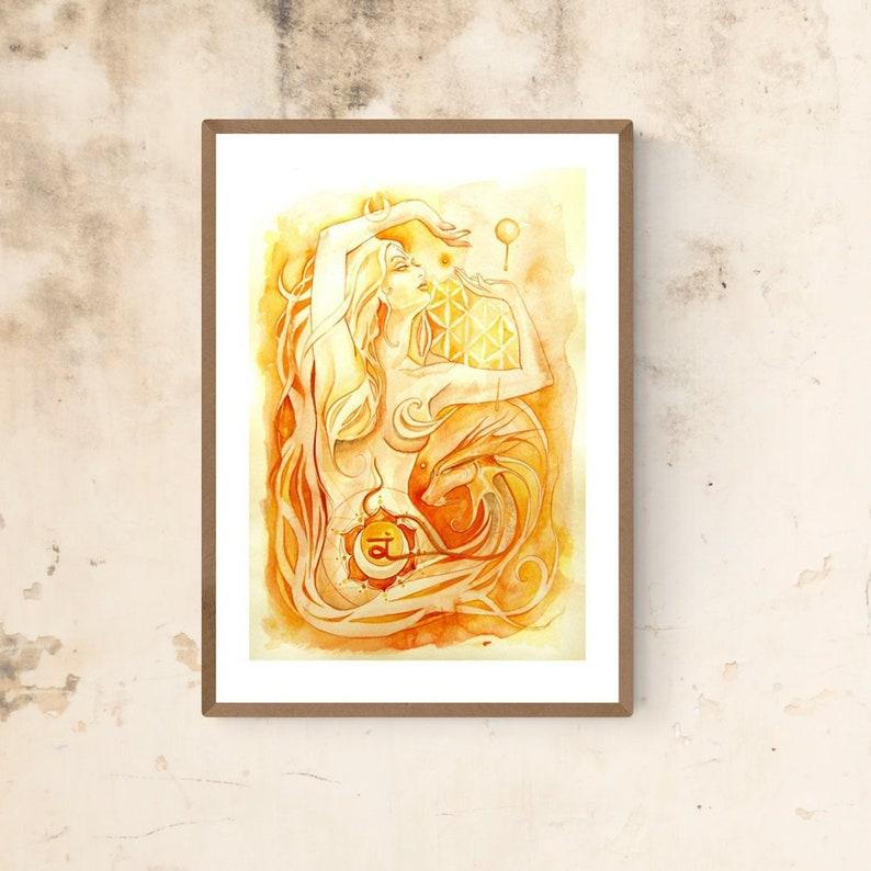 Chakra Art Print / Sacral Chakra Goddess / Healing Wall Art / image 0