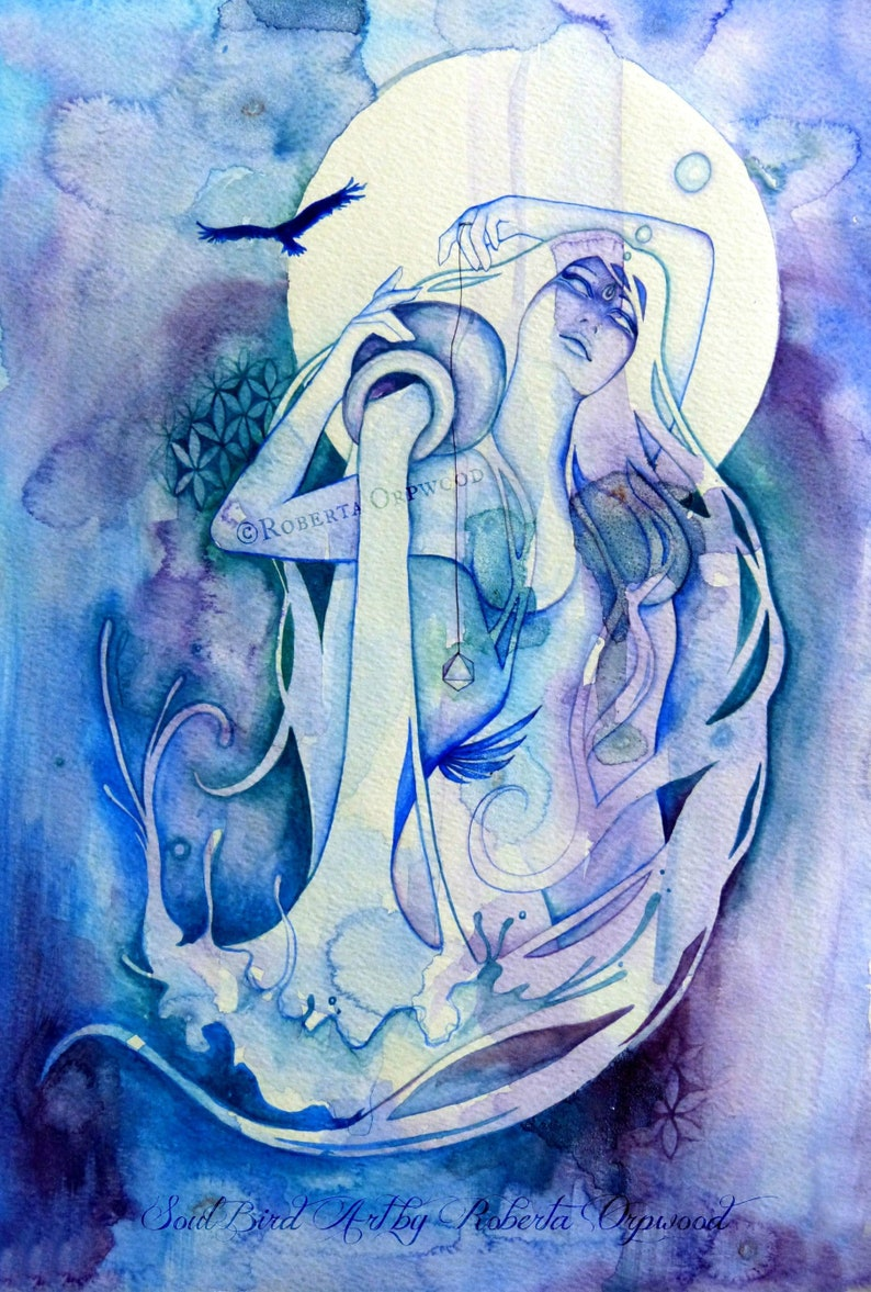 Aquarius Zodiac Goddess Art Print / A4 image 0