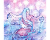 Tarot The Star Limited Edition A3 Art Print / featured in 'Crystal Power Tarot' by Jayne Wallace, Psychic Sisters