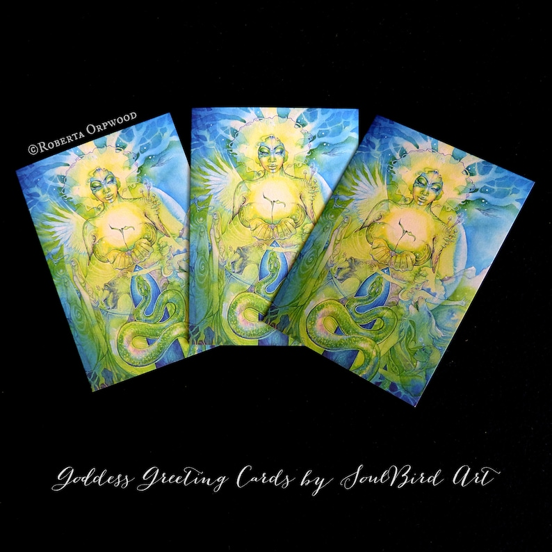 Earth Mother Goddess Greeting Card Set of 3 image 0