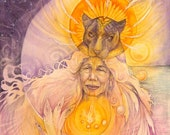 Grandmother Jaguar Spirit Animal Shamanic Medicine Art Print - A4