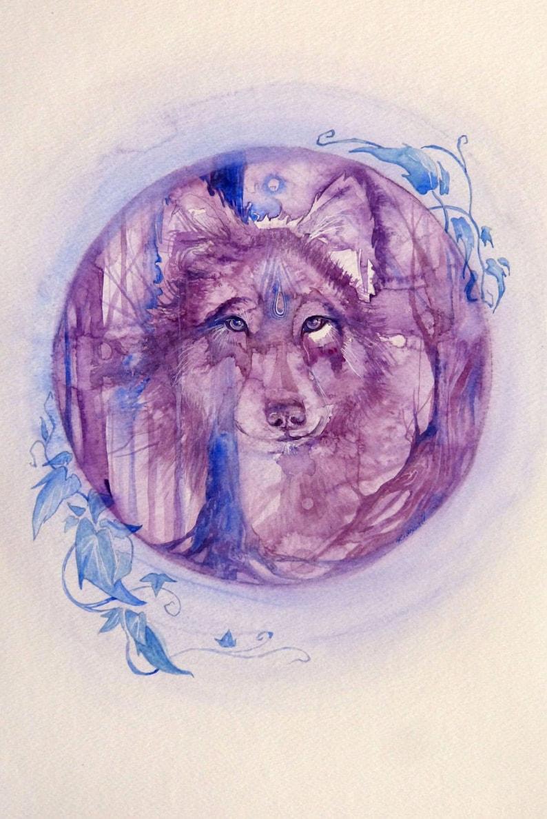 Purple Wolf Spirit Animal Art Print image 0