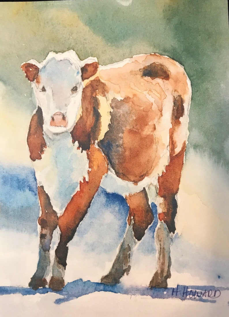 Cow Watercolor Painting Art Print Farmhouse Art Custom Etsy