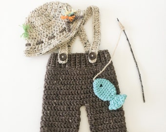 Newborn Boys Fishing Camping Crochet Hat and Pants With Suspenders Boys Photo Prop Fish Pole