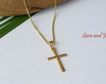 Cross Necklace - Gold Cross - Faith Forever Necklace - Gold Vermeil  Cross Necklace - Confirmation