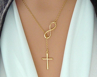 GOLD Cross and Infinity Necklace - Gold Vermeil Infinity Cross Lariat - Faith Forever / Cross Infinity