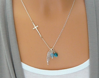 Personalized Angel Wing Necklace - Sideways Cross - Memorial Necklace - Remembrance Necklace Remembrance Jewelry - Sterling Silver - Crystal