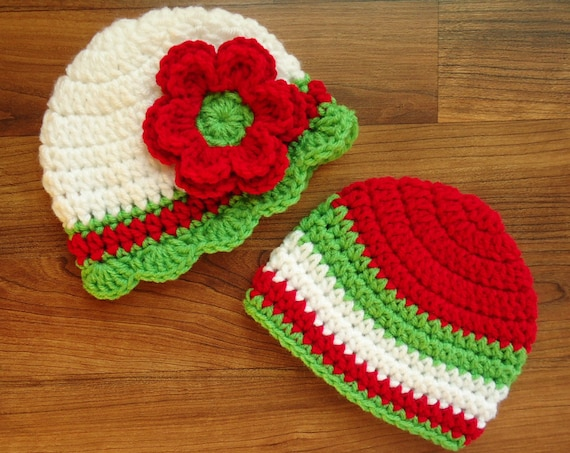 Crocheted Baby Twin Girl/Boy Christmas Hats ~ Bright Red, White & Spring Green ~ Baby Shower Gift ~ Newborn to 5T ~ MADE TO ORDER
