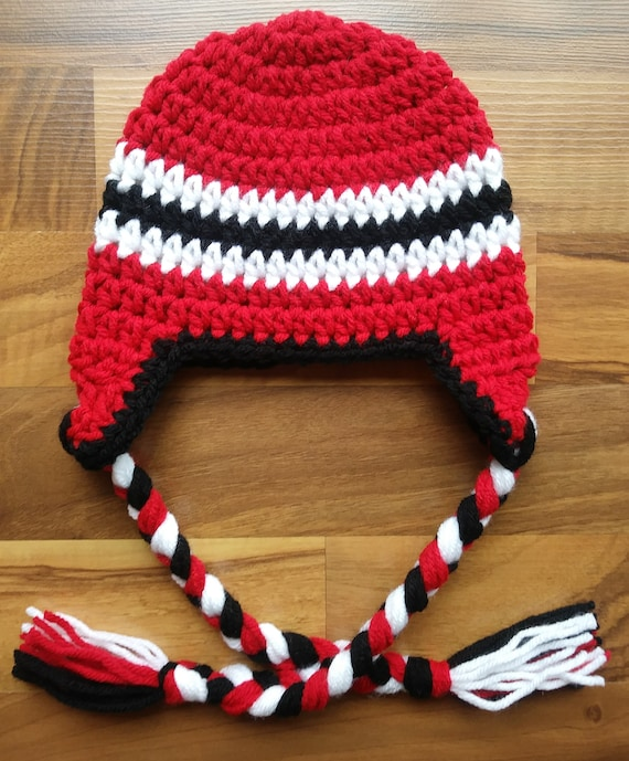 Crocheted Baby Boy Earflap Hat with Braided Ties ~ Bright Red, Black & White ~ Baby Gift ~ Winter Hat ~ Newborn to Teen Size ~ MADE TO ORDER
