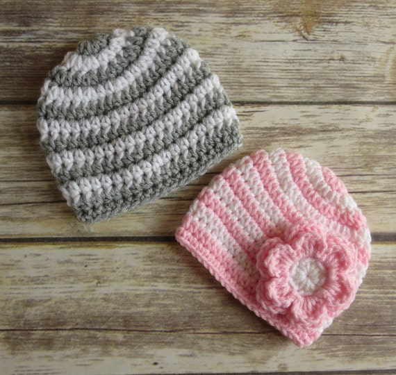 Crocheted Baby Boy/Girl Twin Hat Set ~ Silver Gray and White Stripes & Baby Pink and White Stripes ~ Newborn to 5T ~ MADE TO ORDER