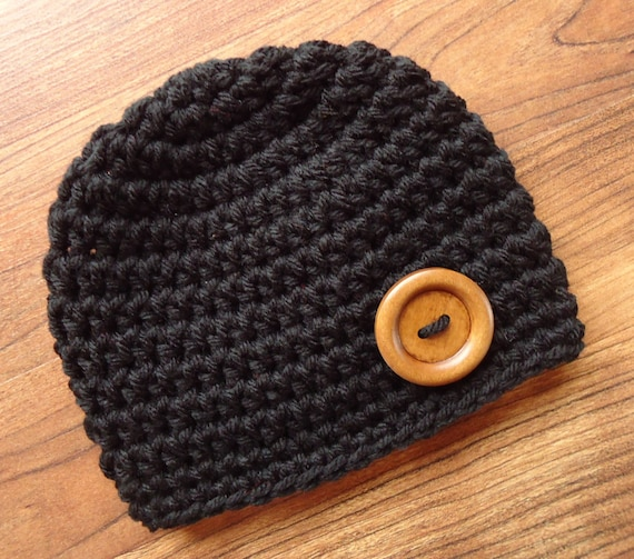 Crocheted Baby Boy Hat with Wooden Button ~ Classic Black ~ Baby Shower Gift ~ Photo Prop ~ Newborn to Teen Size ~ MADE TO ORDER