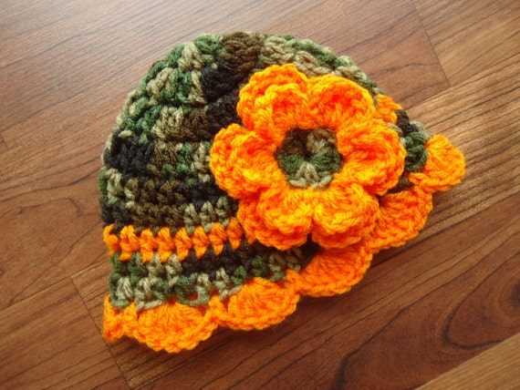 Crocheted Baby Girl Hat with Flower ~ Camouflage & Bright Orange ~ Baby Shower Gift ~ Photo Prop ~ Newborn to Teen Size ~ MADE TO ORDER