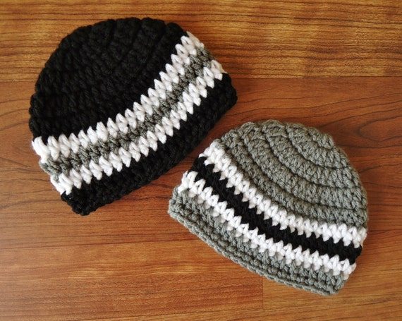 Crocheted Baby Boy/Boy Twin Hat Set ~ Pewter Gray, Black & White ~ Baby Shower Gift ~ Winter Hats ~ Newborn to 5T ~ MADE TO ORDER