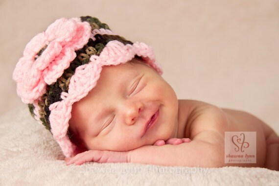 Crocheted Baby Girl Hat with Flower ~ Camouflage & Baby Pink ~ Photo Prop ~ Baby Shower Gift ~ Newborn to Teen Size ~ MADE TO ORDER