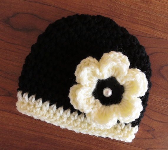 Crocheted Baby Girl Hat with Flower and Faux Pearl Button ~ Black & Cream ~ Winter Hat ~ Photo Prop ~ Newborn to Teen Size ~ MADE TO ORDER