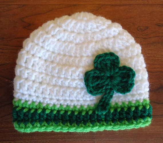 Crocheted Baby Boy/Girl Hat ~ St. Patrick's Day ~ White, Kelly Green & Lime Green ~ Green Shamrock ~ Newborn to Teen Size ~ MADE TO ORDER