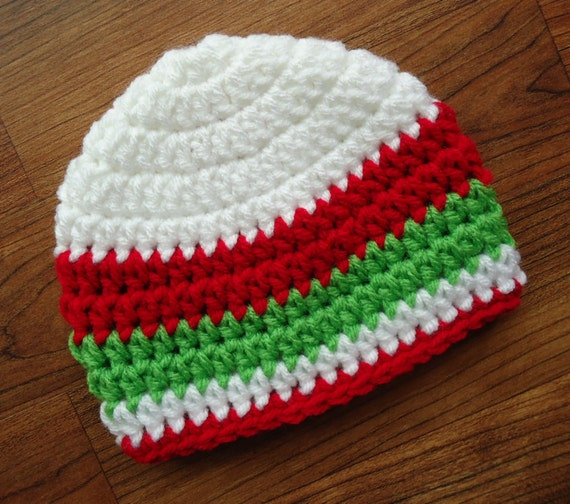 Crocheted Baby Boy Christmas Hat with Stripes ~ White, Bright Red, & Lime Green ~ baby Gift ~ Newborn to Teen Size ~ MADE TO ORDER