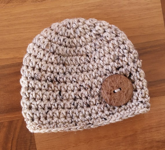 Crocheted Baby Boy Hat ~ Oatmeal Tweed with Coconut Shell Button ~ Baby Shower Gift ~ Photo Prop ~ Newborn to Teen Size ~ MADE TO ORDER