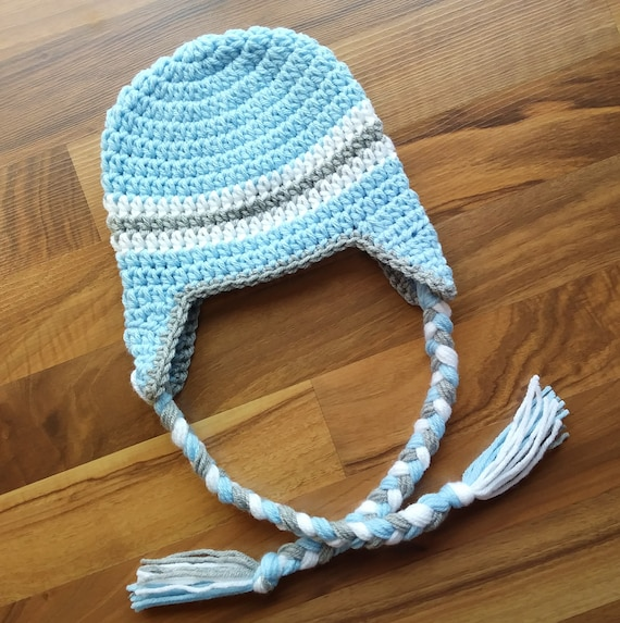 Crocheted Baby Boy Earflap Hat with Braided Ties ~ Baby Blue, Silver Gray & White ~ Baby Gift ~ Newborn to Teen Size ~ MADE TO ORDER