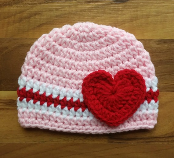 Crocheted Baby Girl Valentine's Day Hat with Heart ~ Baby Pink, Bright Red & White ~ Baby Shower Gift ~ Newborn to Teen Size ~ MADE to ORDER