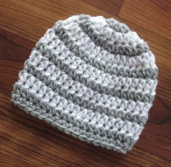 Crocheted Baby Boy Hat ~ Silver Gray & White Stripes ~ Baby Shower Gift ~ Photo Prop ~ Hospital Hat ~ Newborn to Teen Size ~ MADE TO ORDER
