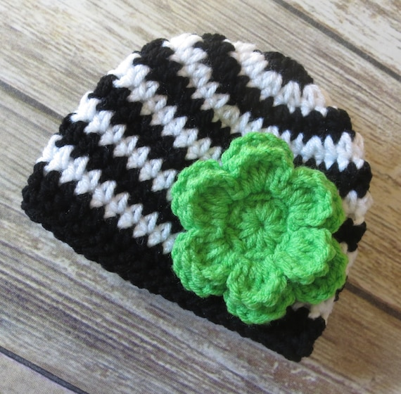 Crocheted Baby Girl Hat with Flower ~ Black & White Stripes ~ Lime Green Flower ~ Winter Hat ~ Newborn to Teen Size ~ MADE TO ORDER