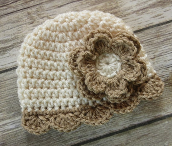 Crocheted Baby Girl Hat with Flower ~ Cream & Tan ~ Winter Hat ~ Baby Gift ~ Newborn Photo Prop ~ Newborn to Teen Size ~ MADE TO ORDER