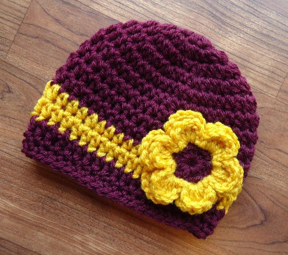 Crocheted Baby Girl Hat with Flower ~ Maroon & Gold ~ Baby Shower Gift ~ College Color Baby Hat ~ Newborn to Teen Size ~ MADE TO ORDER